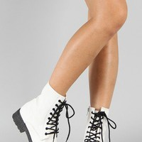 Qupid Missile-04 Military Lace Up Bootie