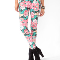 Floral Print Denim Skinnies
