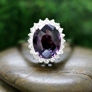 3.58CT Natural Purple Spinel and Diamond 14k White Gold Ring (Free Shipping)