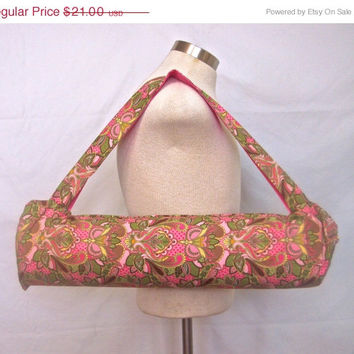 Spring Sale Yoga mat bag with paisley owl print. Handmade yoga mat carrier for women and teens. Spring colors, unique cotton owl print mater
