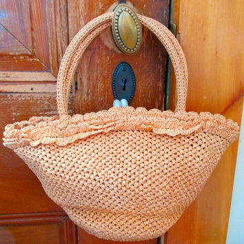 Vintage Handbag Peach Raffia Weave Bag by Josef Hand Made Italy 40s Collectible Purse