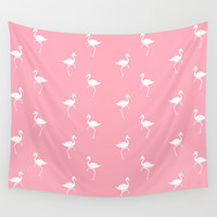 Flamingos Pattern Wall Tapestry by Christina Rollo | Society6