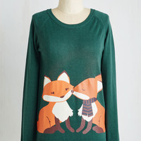 Quirky Mid-length Long Sleeve Smooch Mooch Sweater