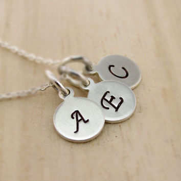 Three Initials Necklace, Hand Stamped Sterling Silver, Personalized Mothers Jewelry, Family Necklace, Birthday, Friend, Dainty, Small Disks