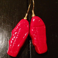 Swedish Fish Candy Earrings made with Sculpey clay