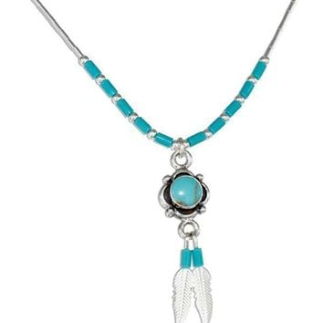 "STERLING SILVER 16"" SIMULATED TURQUOISE CONCHO & FEATHERS LIQUID SILVER NECKLACE"