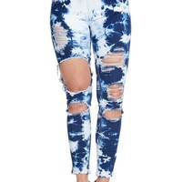 Women's Bleached Destroyed Skinny Denim Joggers