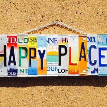 Made in Hawaii. License plate. Happy place. Travel. Beach. Cabin. Garden. Home. Mountain. Sports. Work. Skilodge. Hotel. License p