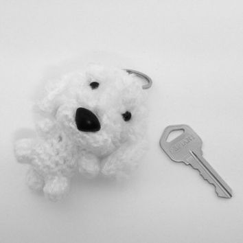 Bichon Frise Keychain Crochet Charm Dog Pet Lover Gift Amigurumi Accessory Plush