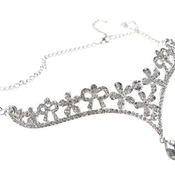 DCCKV2S Head Chain Jewelry Wedding Tiara Headpieces with Pendant,Silver