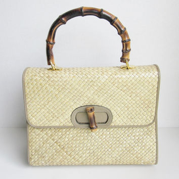 Vintage Susan Gail Bamboo Wicker Taupe Leather Handbag