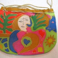 Picasso Purse. Hand Painted Silk Purse. Small Accessory. Unique Gift for Her. Artisan Handmade in NY Hudson Valley