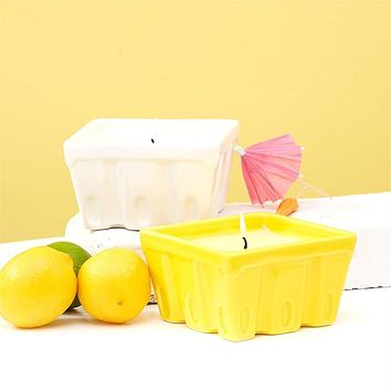 TWO'S COMPANY ASSORTED CITRONELLA CANDLE IN FRUIT CRATE