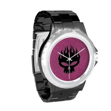 Black Skull on Pink Glitter Rhinestone Watch