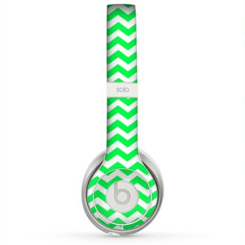 The Green & White Chevron Pattern Skin for the Beats by Dre Solo 2 Headphones