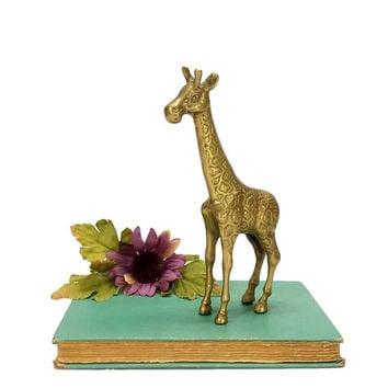 Brass Giraffe Figurine Vintage African Safari Animal Theme Kids Childs Nursery Room Statuette Home Office Decor Boho