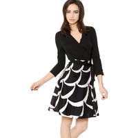 Black Fish Scale Print V-Neck Wrap Around Long Sleeve Skater Dress