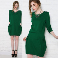 Drop-Waisted with Twin Pockets Casual Mini Dress