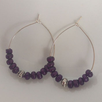 Purple wooden bead and silver hoop earrings