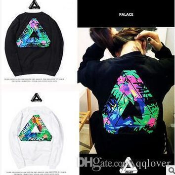 Good Quality PALACE Hoodies Tide Brand Floral Trangle Hoodies Men Women Fashion Loose Cotton Hoodies Sweatshirts Autumn Winter Tops