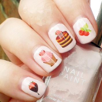Sweety Strawberry Cakes Pattern Nail Art Water Decals Transfers Sticker Manicure Nail Art Decoration