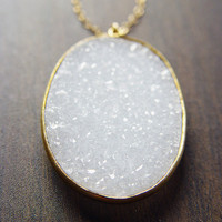 Oval Vanilla Druzy Necklace 14k Gold