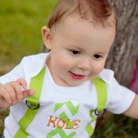 Boys Personalized Lime Green Chevron Birthday Bodysuit-1st Birthday Bodysuit-Birthday Bodysuit-Boys Applique Bodysuit with 1 and Suspenders