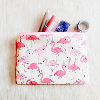 Pink Flamingo Gift for Her/ Make Up Bag/ Gift for Women/ Gift for Mom/ Sister Gift/ Pencil Case/ Girlfriend Gift/ Bridesmaids Gifts/ Pouch