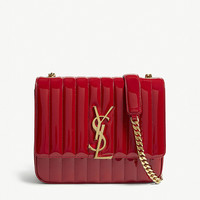SAINT LAURENT Vicky large patent leather shoulder bag