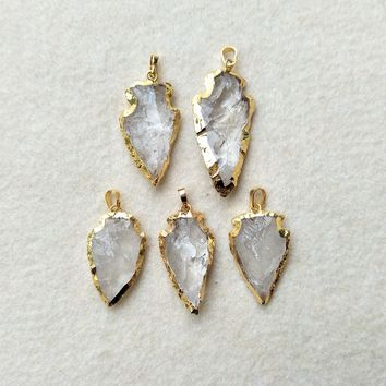 5pcs Natural White Quartz Jewelry Arrow Crystal Pendant,Gold color Rough Arrowheads Charm Bead Jewelry Necklace Making PD357