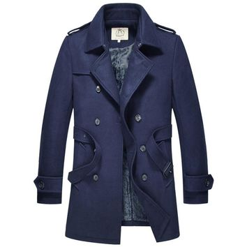 Double Breasted Wool Long Trench Coat