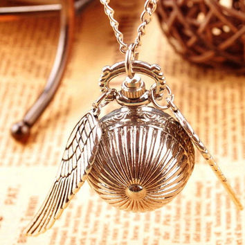 Harry potter Snitch Watch Pendant Necklace Steampunk Quidditch Wings Clock Gift for kids Cosplay Creative gifts Christmas