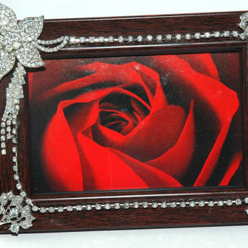 Rhinestone Picture Frame - OOAK Picture Frame - 6 x 4 Picture Frame - Home Decor Frame