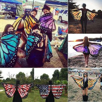 Colorful Butterfly Wings Fairy Pixie Costume Beach Scarf Wrap