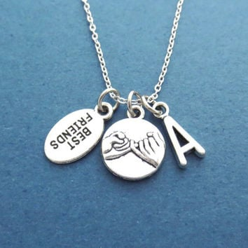 Pinky, Promise, BEST FRIENDS, Personalized, Letter, Initial, Necklace, BFF, Friendship, Graduation, Birthday, Gift, Accessories, Jewelry