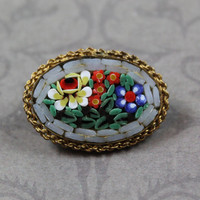 Vintage Blue, Red, Orange, Green and White Floral Italian Micro Mosaic Small Gold Oval Brooch