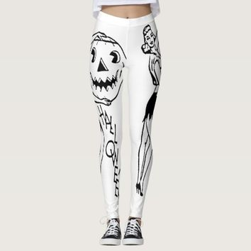 HOLLOWEEN LEGGINGS BLACK AND WHITE DESIGN