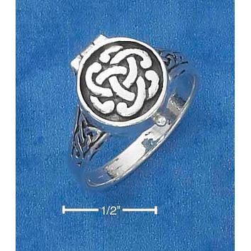 Sterling Silver Ring:  Antiqued Celtic Knot Poison Ring