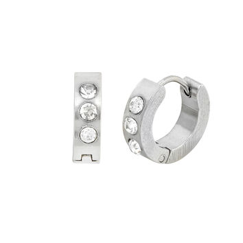 Stainless Steel Huggie Hinged CZ Cubic Zirconia Hoop Earrings 15mm