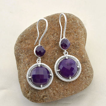 Amethyst Chalcedony 8 mm And 15 mm Silver Jewelry Long Earrings - Dangle Earrings - Silver Earrings - Gemstone Silver Earrings - #3711