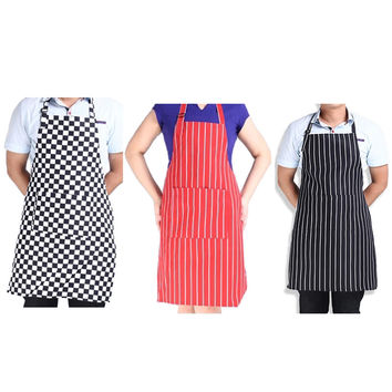 1pcs Kitchen Apron Adult Cook Waiter Polyester  Stripe Bib Apron with 2 Pockets Chef  Waiter Kitchen Cook Tool 3 Styles