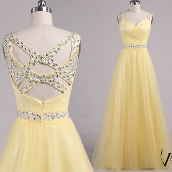 New Arrival Spaghetti Strap Unique Design Back Beaded Crystal Yelloe A Line Tulle Long Formal Crystal Prom Dresse Wedding Party Dresses