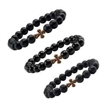 2018 New 8mm Lava Stone Beads Cross Beaded & Bracelet Yoga Fashion Trendy For Women Friend Matte Men Bracelets Distance Jewelry