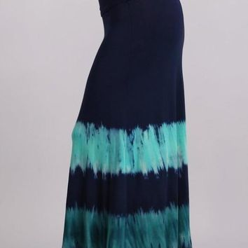Plus Size Navy Teal Tie Dye Maxi Skirt