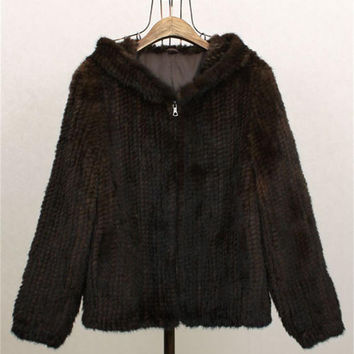 Thick Knit Warm Brown Mink fur Coat 55cm long Outwear , Free Crochet pattern ,Fur Sweater Jacket ,Casual,Long Hoodie coat,Black Jacket lined