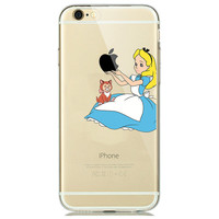 Alice in Wonderland with Kitten on lap Phone Case For iPhone 7 7Plus 6 6s Plus 5 5s SE
