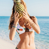 Summer Trendy Pineapple Print Swimsuit Bikini Set