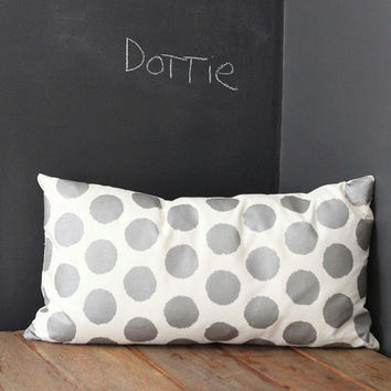 Dottie pillow cover hand printed in metallic pewter on off-white organic cotton-hemp 14x26