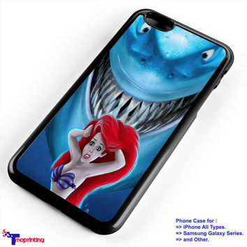 mermaid scream shark - Personalized iPhone 7 Case, iPhone 6/6S Plus, 5 5S SE, 7S Plus, Samsung Galaxy S5 S6 S7 S8 Case, and Other