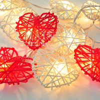 RED WHITE HEART RATTAN STRING PATIO,DECORATION,BEDROOM,LIVING ROOM,WEDDING LIGHT